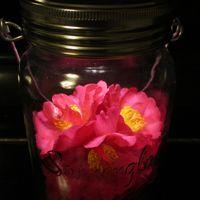 ソネングラスにサザンカのお花を入れて...
