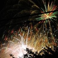 家の2階から撮影した花火です。 電線が...