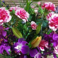 本日の、お花達。🌼  リリー、スプレーカーネーシ...