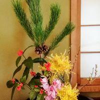 「お正月の花」20210104 庭で育てた千両が...