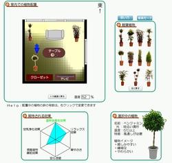 「対話型グリーンアメニティデザイン支援システム・通常版」のシュミレーション画面。家具や植物を配置しながら、観葉植物の快適効果が簡単に測定できる