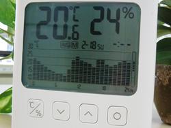 グラフ付きデジタル温湿度計が置かれた場所の、過去7日分の温度と湿度の推移も確認できる(写真は2/18の温度推移。表示を切り替えることで7日間分のデータを見ることができる)