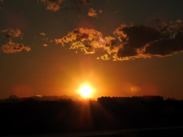 多摩川 の 夕日