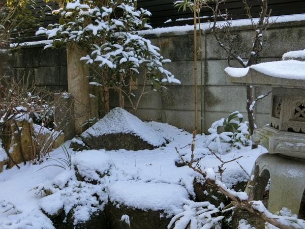 見立てた石 右側の雪が多すぎですが、上手く雰囲気出たように