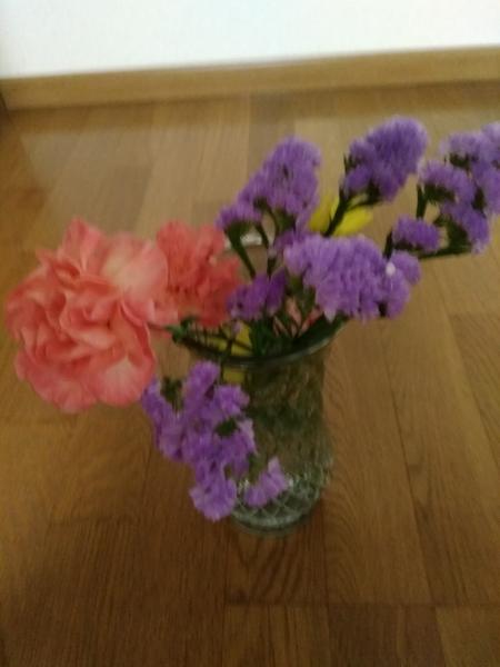 先日、買った切り花が、まだ  綺麗デス、 😜😜 紫色が、ユニークですね。