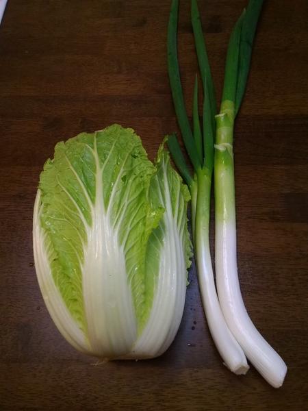 2018 2月6日  福岡は雪でした。白菜と、白ネギと、豚肉と、冷蔵庫の野菜で お鍋しまし
