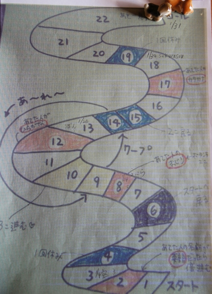 1/31 すごろく 1/30sakurasouさんのピンク 5 1/31赤いハナミズキさんの赤 5 10進ん