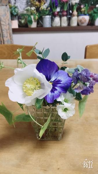 庭のクリスマスローズを1つだけ切りました(^-^) 上手く飾れませんが、可愛いお花です