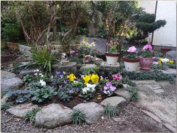 広く拡張して賑やかになった花壇の全景